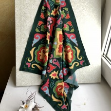 Татарский платок с орнаментом ярко-зеленый