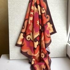 Татарский платок с орнаментом бордовый-золотой