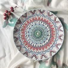 Тарелка с точечной росписью розовая
