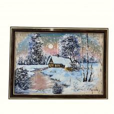 """Картина из бересты """"Зима"""""""