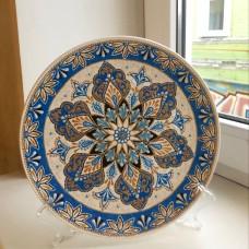 Тарелка точечная роспись синяя