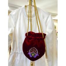 Сумка-мешок бархатная с татарской вышивкой красная
