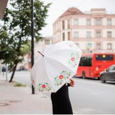 Зонт-трость с татарским узором белый