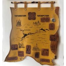 Карта Казани из натуральной кожи