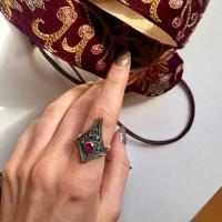 Кольцо с фианитом (розовое) 18