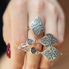 Кольцо-листок серебряное