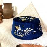 Тюбетейка синяя с вышивкой и бисером