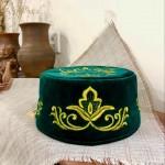 Тюбетейка зеленая с вышивкой