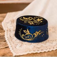 Тюбетейка синяя с золотой вышивкой